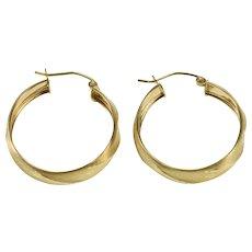 10K Satin Finish Diamond Cut Patterned Hoop Earrings Yellow Gold  [QPQC]
