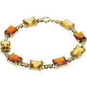 "14K Emerald Cut Garnet Citrine Grooved Link Chain Bracelet 7"" Yellow Gold  [QWXQ]"