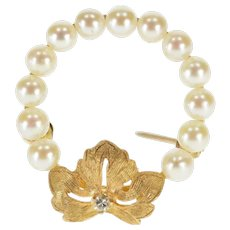 14K Pearl Beaded Ring Leaf Accent Diamond Inset Pin/Brooch Yellow Gold  [QPQC]