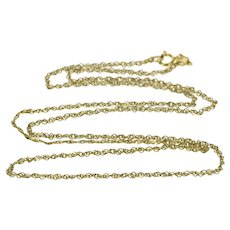 """14K 1.0mm Curb Link Rolling Twist Chain Necklace 18.25"""" Yellow Gold  [QWQX]"""