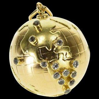 18K 3D Globe Travelers Planet Earth Pendant Yellow Gold  [QPQC]