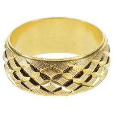 14K Grooved Textured Lattice Patterned Band Ring Size 6.5 Yellow Gold [QPQC]