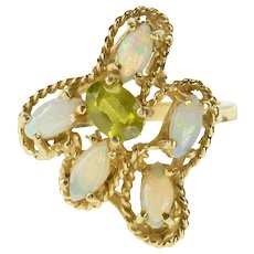 14K Marquise Opal Peridot Rope Trim Cocktail Ring Size 6.25 Yellow Gold [QWQX]