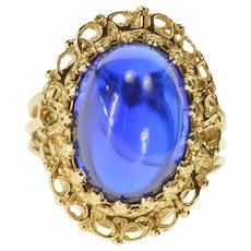 14K Oval Syn. Sapphire Ornate Prong Halo Statement Ring Size 5.75 Yellow Gold [QRXF]