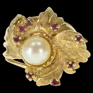 10K Pearl Ruby Crosshatch Textured Cocktail Ring Size 7 Yellow Gold [QRXF]