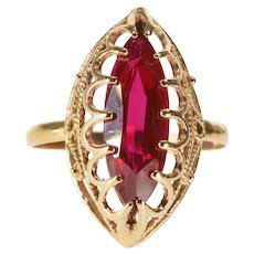14K Ornate Marquise Syn. Ruby Scalloped Prong Milgrain Ring Size 7.5 Rose Gold [QWQX]
