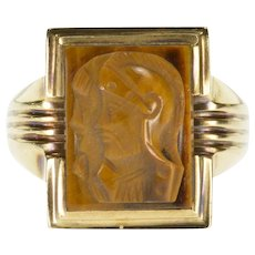 10K Carved Tiger's Eye Intaglio Men's Statement Ring Size 11.75 Yellow Gold [QWQX]