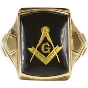 10K Masonic Compass Square Symbol Inlay Black Onyx Ring Size 9.5 Yellow Gold [QPQC]