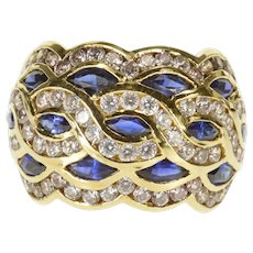 14K Wavy Marquise Syn. Sapphire Channel Encrusted Ring Size 5.5 Yellow Gold [QWQX]