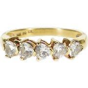 14K Heart Cut Five Stone Travel Wedding Band Ring Size 8 Yellow Gold [QPQC]