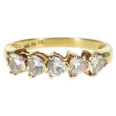 14K Heart Cut Five Stone Travel Wedding Band Ring Size 8 Yellow Gold [QWQX]