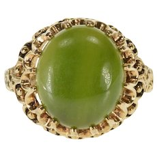10K Oval Nephrite Jade Cabochon Scalloped Prong Ring Size 6.75 Yellow Gold [QRXF]