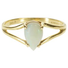 14K Pear Cut Opal* Cabochon Split Band Design Ring Size 5.25 Yellow Gold [QPQC]