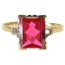 14K Opposed Bar Cut Syn. Ruby Diamond Accented Retro Ring Size 7.5 Yellow Gold [QWQX]
