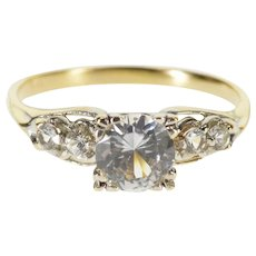 14K Five Stone Ornate Classic Travel Engagement Ring Size 7.75 Yellow Gold [QPQC]