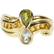 10K Pear Peridot Blue Topaz Citrine Accented Wavy Ring Size 8 Yellow Gold [QPQC]