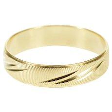 14K Grooved Diamond Cut Pattern Men's Wedding Ring Size 11.5 Yellow Gold [QWQX]