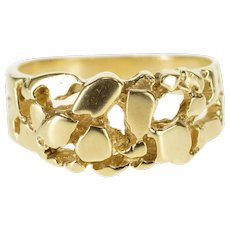 14K Cluster Textured Abstract Nugget Band Ring Size 6.5 Yellow Gold [QPQC]