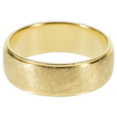 14K Crosshatch Textured Patterned Wedding Band Ring Size 4.75 Yellow Gold [QWQX]