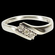 10K Diamond Inset Starburst Illusion Freeform Band Ring Size 6.5 White Gold [QWQX]