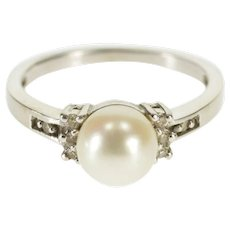 10K Pearl Channel Diamond Inset Statement Ring Size 6.75 White Gold [QWQX]