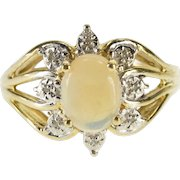 10K Oval Opal* Diamond Petal Halo Accented Ring Size 4.75 Yellow Gold [QPQC]