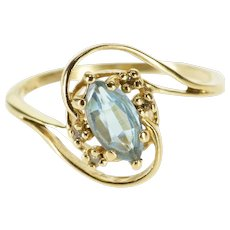 14K Marquise Blue Topaz Diamond Wave Bypass Ring Size 6.25 Yellow Gold [QWQX]