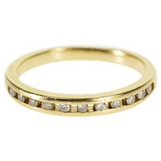 14K Channel Inset Spaced Diamond Wedding Band Ring Size 6.75 Yellow Gold [QWQX]