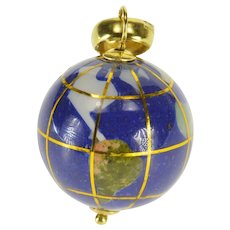 14K Multicolored Stone Inlay 3D Globe Earth Charm/Pendant Yellow Gold  [QPQC]