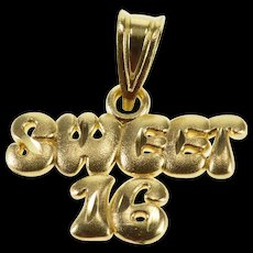 14K Sweet Sixteen 16th Birthday Rounded Letters Charm/Pendant Yellow Gold  [QWQX]