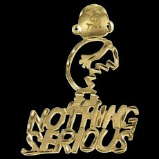 14K Nothing Serious Injured Stylized Cartoon Pendant Yellow Gold  [QWQX]