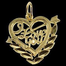 14K I Love You Arrow Through Heart Charm/Pendant Yellow Gold  [QWQX]