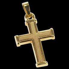 10K Textured Patterned Cross Christian Symbol Charm/Pendant Yellow Gold  [QWQX]
