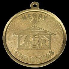 14K Merry Christmas Nativity Scene Medallion Charm/Pendant Yellow Gold  [QWQX]