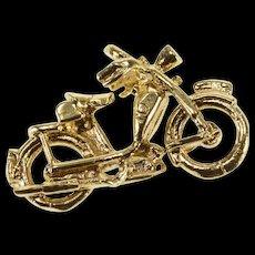 10K 3D Motorcycle Motor Bike Charm/Pendant Yellow Gold  [QWQX]