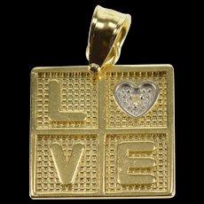 14K Diamond Inset Love Textured Box Heart Pendant Yellow Gold  [QWQX]