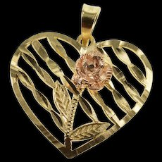 10K Textured Striped Heart Rose Design Charm/Pendant Yellow Gold  [QWQX]