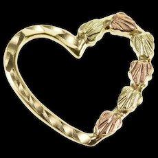 10K Diamond Cut Textured Leaf Motif Heart Pendant Yellow Gold  [QWQX]