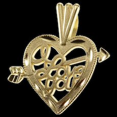 14K I Love You Arrow Through Heart Pendant Yellow Gold  [QWQX]