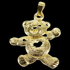 14K Articulated Stylized Teddy Bear Heart Cut Out Pendant Yellow Gold  [QWQX]