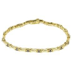 "14K Sapphire Inset Concave Curved Bar Link Bracelet 7"" Yellow Gold  [QPQC]"