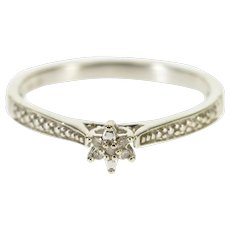 10K Floral Cluster Diamond Inset Textured Accent Ring Size 6 White Gold [QPQC]