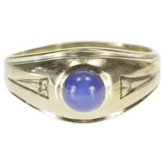 14K Three Stone Blue Star Sapphire Diamond Accent Ring Size 10.25 White Gold [QWQX]