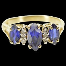 10K Marquise Syn. Sapphire Diamond Accent Three Stone Ring Size 4.75 Yellow Gold [QWQX]