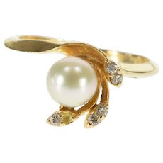 14K Pearl Diamond Accented Leaf Curved Cluster Ring Size 6 Yellow Gold [QWQX]