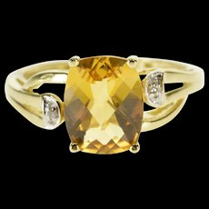 10K Faceted Citrine Diamond Accented Freeform Ring Size 6.75 Yellow Gold [QWQX]