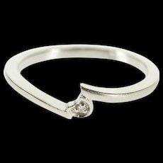 14K Diamond Inset Satin Finish Freeform Bypass Ring Size 6 White Gold [QWQX]