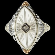 14K Carved Crystal Diamond Inset Art Deco Filigree Ring Size 3.25 White Gold [QWQX]