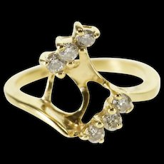 14K Diamond Diagonal Inset Wedding Band Ring Size 3.75 Yellow Gold [QWQX]