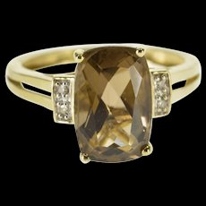 10K Cushion Smokey Quartz Diamond Accented Ring Size 6.75 Yellow Gold [QWQX]